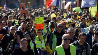 """Des """"gilets jaunes"""" manifestent lors du quinzième samedi de mobilisation du mouvement, le 23 février 2019 à Toulouse (Haute-Garonne). (ALAIN PITTON / NURPHOTO / AFP)"""