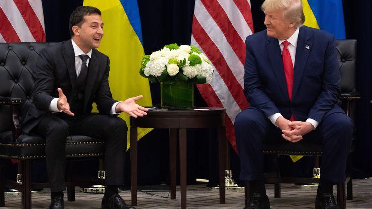 Le président ukrainien, Volodymyr Zelensky, et le président américain, Donald Trump, le 25 septembre 2019 à New York (Etats-Unis). (SAUL LOEB / AFP)