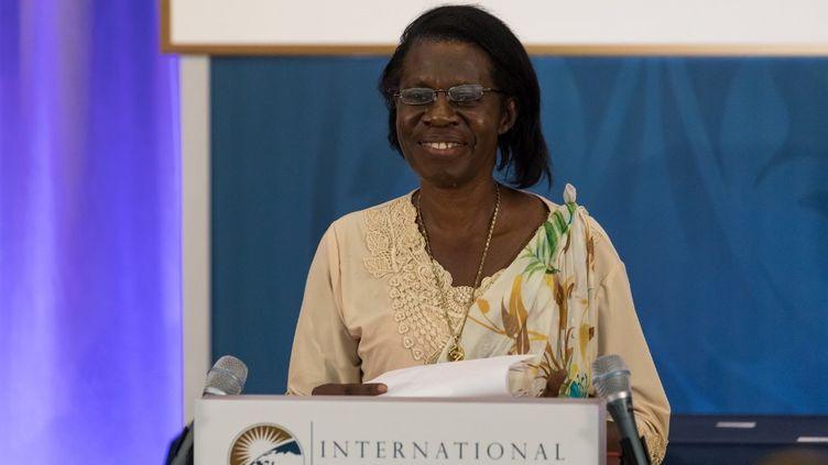 Godelieve Mukasarasi, fondatrice et coordinatrice de l'ONG Sevota (Solidarité pour l'épanouissement des veuves et des orphelins visant le travail et l'autopromotion), le 23 mars 2018 à Washington DC, au Etats-Unis, dans les locaux du Département d'Eta. Elle s'exprime après avoir reçu l'un des 10 International Women of Courage (IWOC) Awardsqui distingue des femmes au parcours extraordinaire. (CHERISS MAY / NURPHOTO)