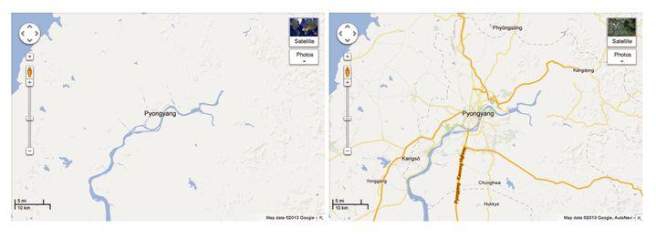 La carte de la Corée du nord, avant et après la mise à jour de Google. (GOOGLE / AFP)