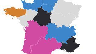 La carte des sondages pour les régionales 2021. (FRANCEINFO)