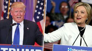 """Donald Trump et Hillary Clinton au soir du """"Super Tuesday"""", le 1er mars 2016. (AFP / FRANCETV INFO)"""