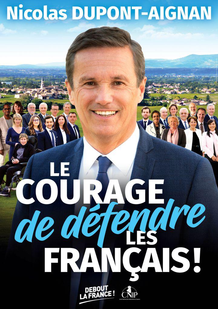 L'affiche de la liste Debout la Francepour les européennes 2019. (FRANCEINFO)