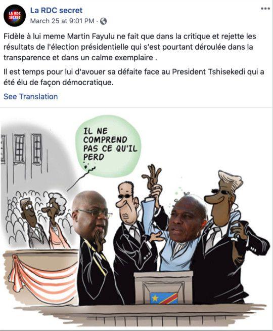 Une des publications de la page RDC secret fermée par Facebook. (Capture d'écran)