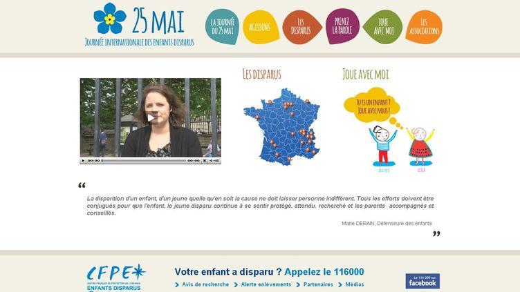 (Capture d'écran du site du 25 mai, site de sensibilisation sur les disparitions d'enfants)