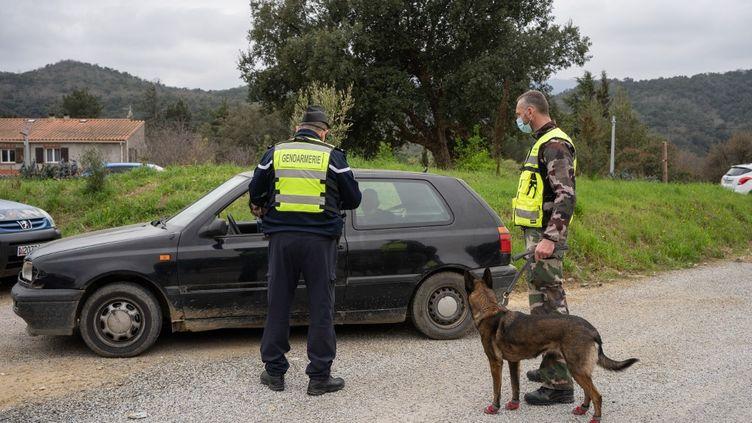 Des gendarmes français contrôlent des conducteurs traversant la frontière entre l'Espagne et la France, à Le Perthus (Pyrénées-Orientales), le 6 mars 2021. (JEANNE MERCIER / HANS LUCAS / AFP)