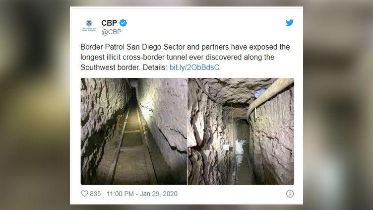 Leplus long tunnel de contrebande jamais découvert entre lesÉtats-Unis et le Mexique. (CAPTURE D'ECRAN TWITTER)