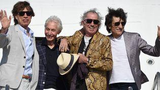 Mick Jagger, Charlie Watts, Keith Richards et Ron Wood à Montevideo en 2016.  (PABLO PORCIUNCULA / AFP)