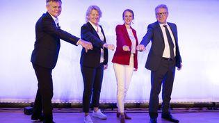 Patrice Martin, Brigitte Henriques, Emmanuelle Bonnet-Oulaldj et Thierry Rey lors du lancement des quatre candidats à la présidence du Comité National Olympique Français, le 27 mai 2021, à la Maison du Sport Français à Paris. (PHILIPPE MILLEREAU / KMSP / AFP)