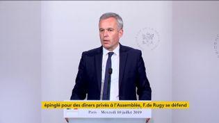 François de Rugy, ministre de la Transition écologique et solidaire, à l'Elysée, le 10 juillet 2019. (FRANCEINFO)