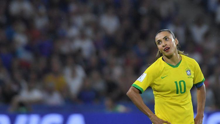 L'attaquante brésilienne Marta, lors du huitième de finale France-Brésil, au stade Océane du Havre, le 23 juin 2019. (LOIC VENANCE / AFP)