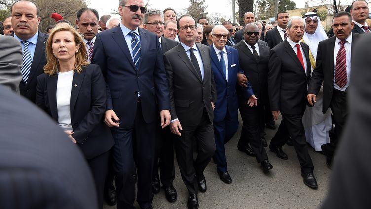 Le président tunisien Beji Caid Essebsi et le président français François Hollande, le 29 mars 2015 à Tunis (Tunisie). (EMMANUEL DUNAND / AFP)