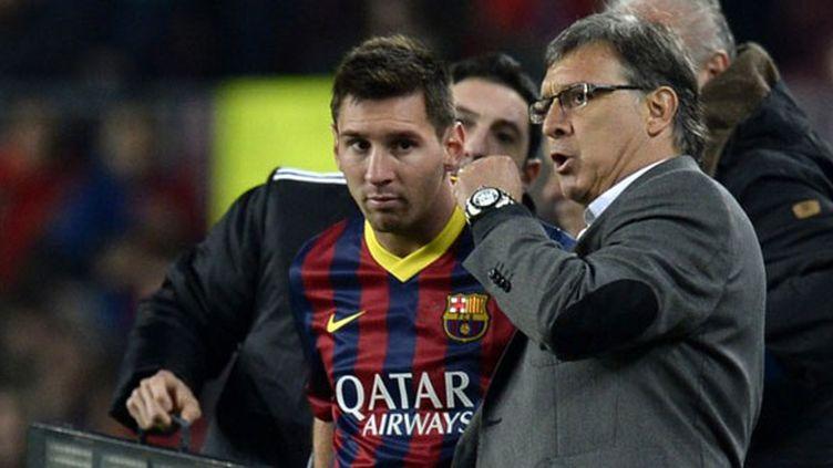 L'entraîneur du FC Barcelone, Gerardo Martino et son joueur Lionel Messi