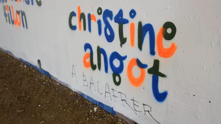 Des tags antisémites visant la romancière Christine Angot inscrits sur le Palais des arts de Vannes (Morbihan), le 20 mars 2019. (MAXPPP)