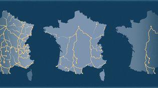 L'évolution des lignes de train de nuit en France entre 1981 et 2020. (AWA SANE / FRANCEINFO)