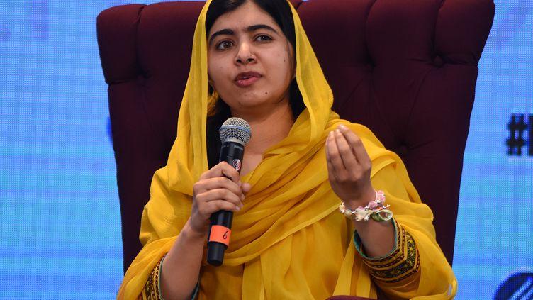L'activiste Malala Yousafsai lors d'une conférence au Mexique, jeudi 31 août 2017. (CARLOS TISCHLER / NURPHOTO / AFP)