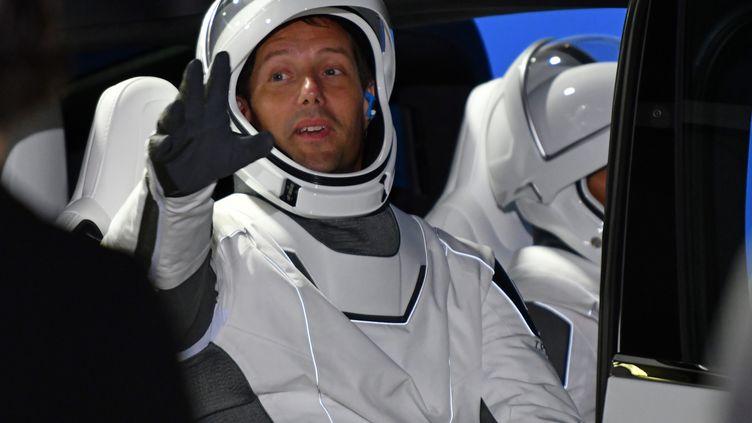 Thomas Pesquet à bord de la capsule Crew Dragon 2, sur le site de lancement du Kennedy space center en Floride (USA), le 23 avril 2021. (JOE MARINO / MAXPPP)