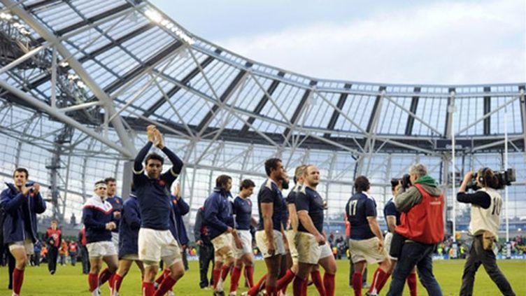 Les Français heureux dans le tout nouveau Aviva Stadium