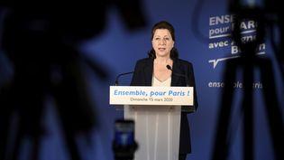 L'ancienne ministre de la Santé, dimanche 15 mars 2020 dans son QG de campagne, à Paris. (JULIEN DE ROSA / AFP)