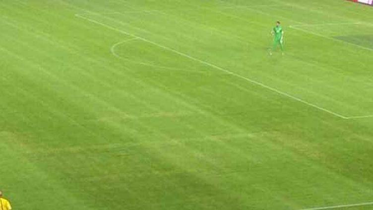 Vendredi dernier, les spectateurs du match Croatie-Italie (1-1) ont pu distinguer le symbole nazi, gravé dans la pelouse de Split.