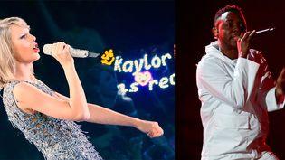 Taylor Swift et Kendrick Lamar  (Ding zhenjie / Imaginechina et FREDERIC J. BROWN / AFP)