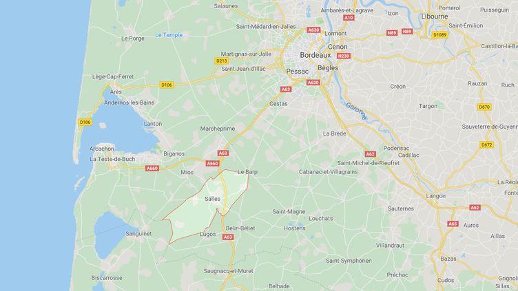 Le 16 juillet 2019, 68 hectares de forêts et de végétation étaient partis en fumée à Salles au sud de la Gironde. (CAPTURE ECRAN GOOGLE MAPS)