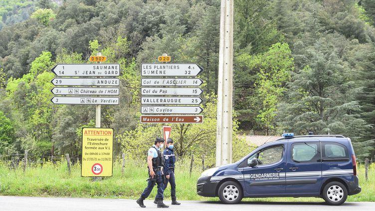 Des gendarmes déployés pendant quatre jours dans les Cévennes lors de la traque de Valentin Marcone, à la mi-mai 2021. (SYLVAIN THOMAS / AFP)