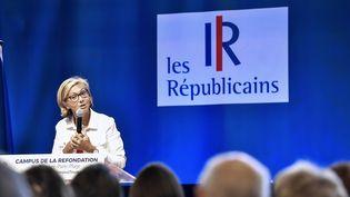 Valérie Pécresse s'exprime devant des militants des Républicains, le 27 août 2017, au Touquet (Pas-de-Calais). (PHILIPPE HUGUEN / AFP)