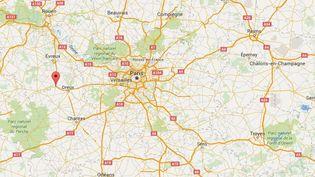 Capture d'écran de Google Maps pointant Nonancourt (Eure) où une explosion dans un immeuble a fait au moins quatre blessés et deux disparus. (GOOGLE MAPS)