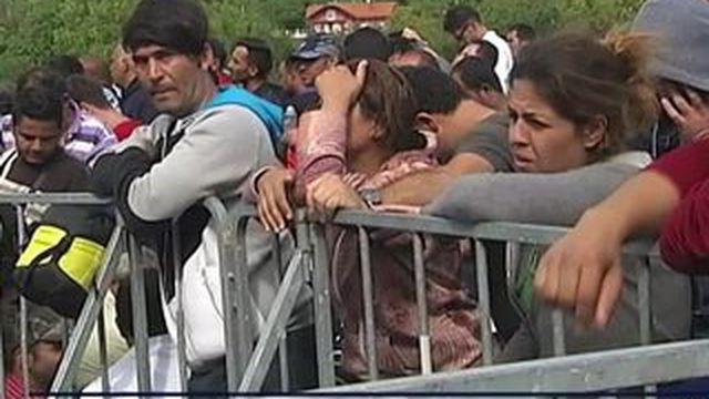Les migrants patientent à la frontière entre la Slovénie et la Croatie