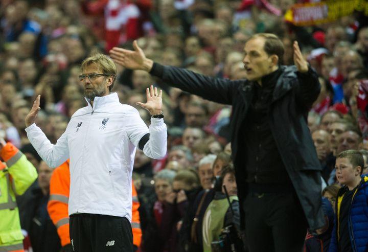 Thomas Tuchel lors de la défaite de Dortmund contre le Liverpool de Jürgen Klopp en 2016 (BERND THISSEN / DPA)