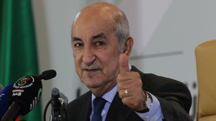 Le nouveau président algérien, Abdelmadjid Tebboune, lors d'une conférence de presse à Alger le 13 décembre 2019. (FAROUK BATICHE / ANADOLU AGENCY)
