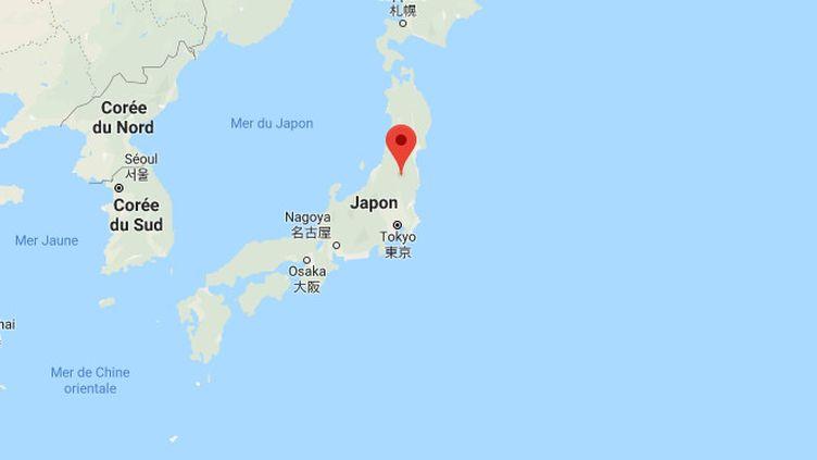 Capture d'écran montrant la géolocalisation de Fukushima (Japon). (GOOGLE MAPS)