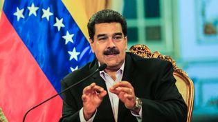 Nicolas Maduro, président du Venezuela, participe à une réunion avec des diplomates, à Caracas le 28 janvier 2019. (HO / VENEZUELAN PRESIDENCY / AFP)